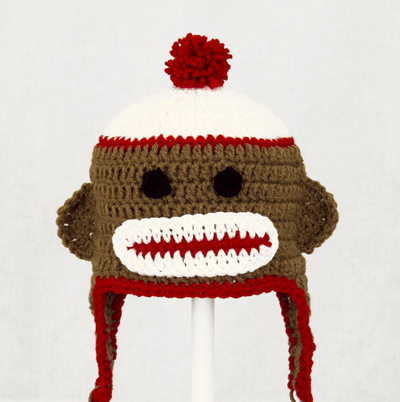 Brown Sock Monkey Earflap Hat